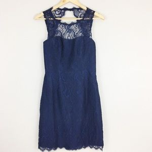 Jim Hjelm Occasions | Navy Lace Cocktail Dress